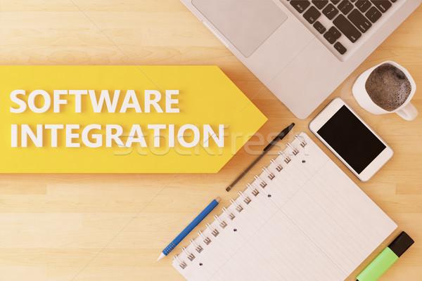 Foto stock: Software · integración · lineal · texto · flecha · cuaderno