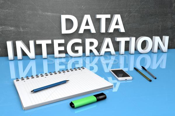 Foto stock: Datos · integración · texto · pizarra · cuaderno · plumas