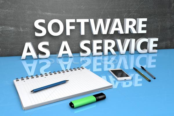 Szoftver szolgáltatás szöveg tábla notebook tollak Stock fotó © Mazirama