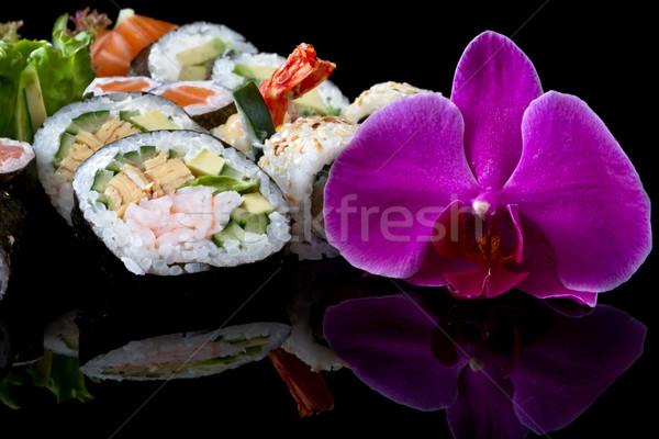 Sushi conjunto preto comida peixe asiático Foto stock © mblach
