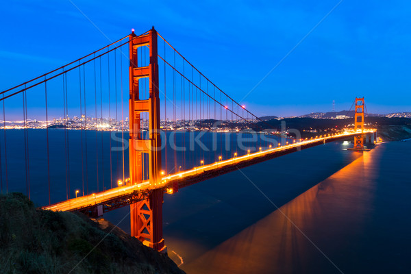Golden gate nuit ciel art océan pont Photo stock © mblach