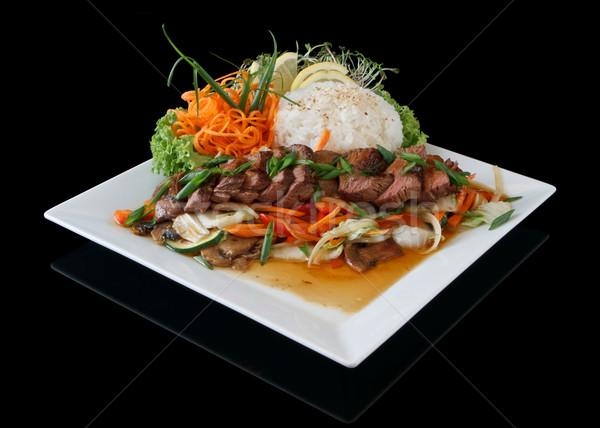 говядины терияки обеда пластина продовольствие Сток-фото © mblach