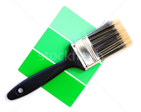 green color swatch with paintbrush Stock photo © mblach