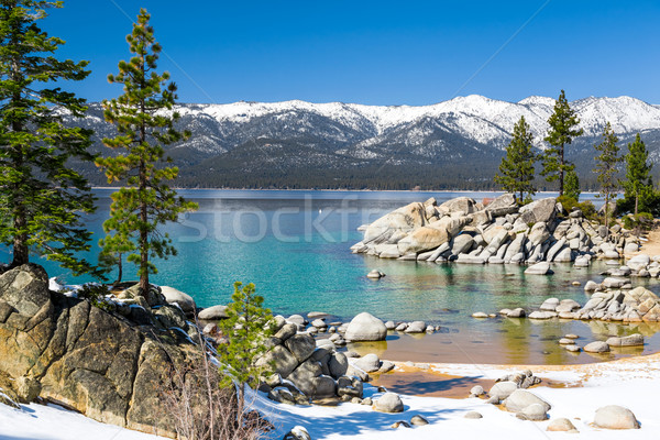 Tó kilátás Nevada hegyek víz hó Stock fotó © mblach