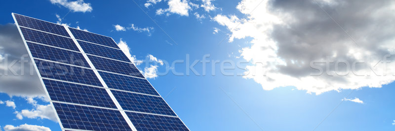 Napelemek kék ég égbolt technológia zöld kék Stock fotó © mblach