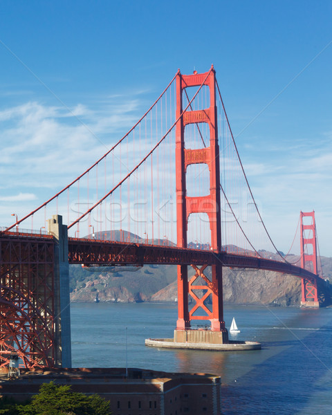 Golden Gate Bridge San Francisco cielo viaje cable rojo Foto stock © mblach