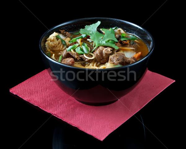 çorba siyah çanak arka plan yeşil Japon Stok fotoğraf © mblach