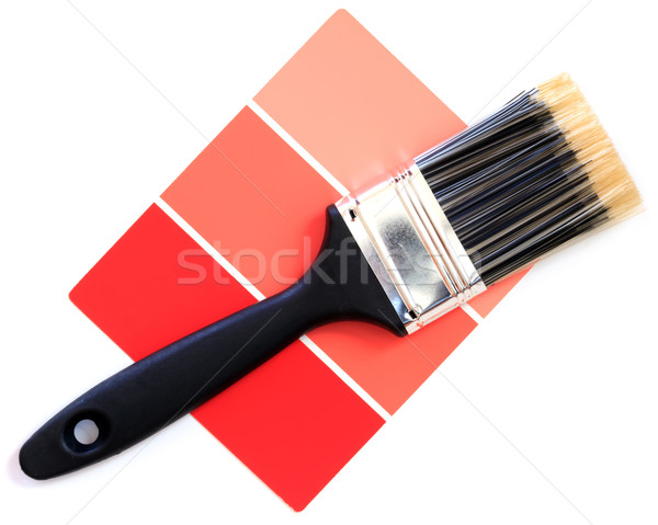 red color swatch with paintbrush Stock photo © mblach