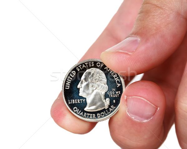 Trimestre dólar moeda dedos dinheiro Foto stock © mblach