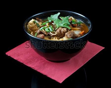 çorba siyah arka plan yeşil Japon öğle yemeği Stok fotoğraf © mblach
