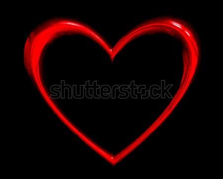 Herzform schwarz Liebe glücklich Herz Design Stock foto © mblach