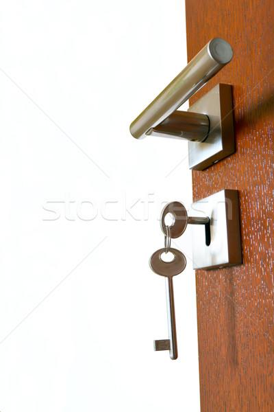 Stockfoto: Open · deur · sleutels · huis · hout · ontwerp · home