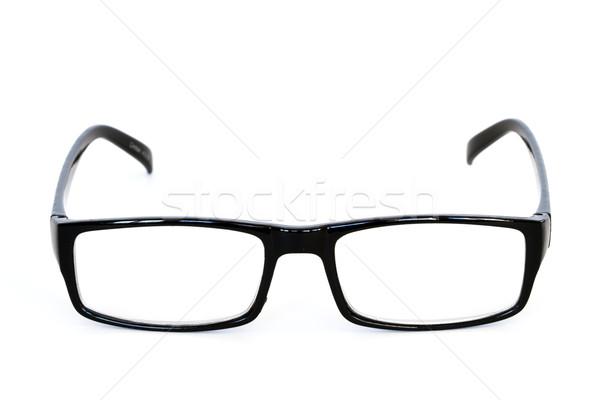 Occhiali da lettura nero isolato bianco lettura care Foto d'archivio © mblach