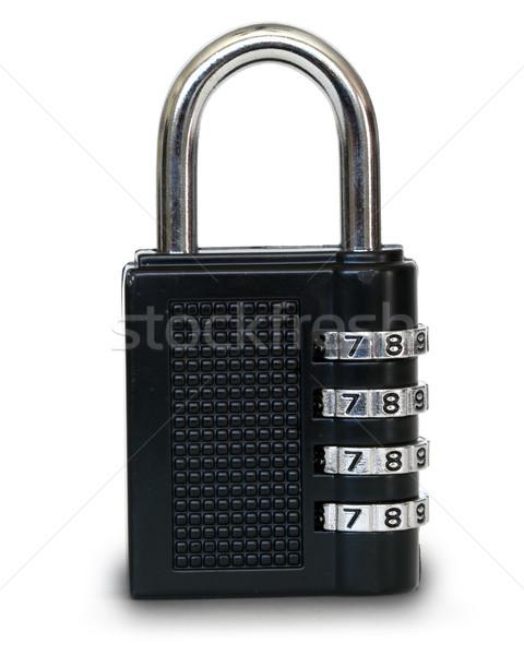 Hangslot gesloten witte veiligheid keten veiligheid Stockfoto © mblach