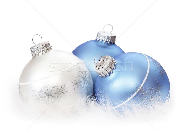 Natal decoração branco bola celebração pele Foto stock © mblach