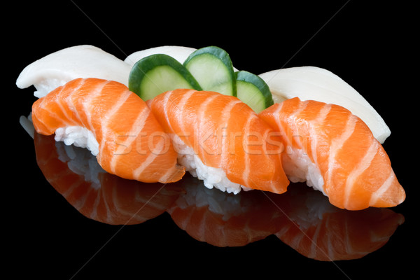 Sushis noir alimentaire poissons asian Photo stock © mblach