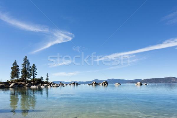 Tó gyönyörű égbolt víz fák hegy Stock fotó © mblach