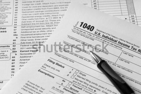 Vergi form 1040 para kâğıt kalem Stok fotoğraf © mblach