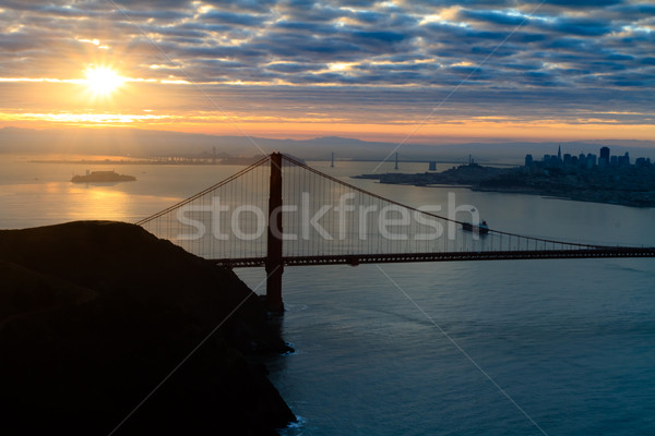 ゴールデンゲート 日の出 ゴールデンゲートブリッジ 空 太陽 芸術 ストックフォト © mblach