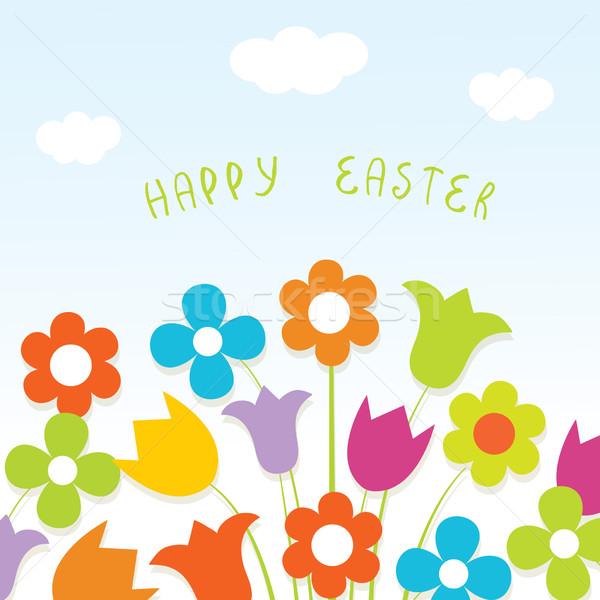 Kellemes húsvétot kártya fényes virágok virág papír Stock fotó © mcherevan