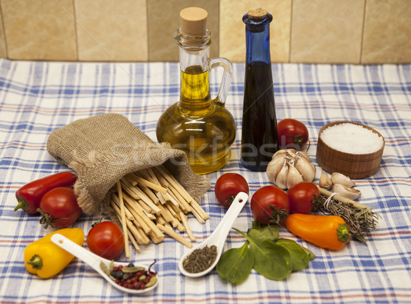 Pappardelle Italian pasta set for the creation : cherry tomatoes, olive oil, balsamic sauce, garlic, Stock photo © mcherevan