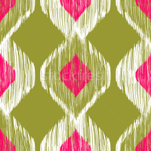 Seamless ikat pattern in pink and khaki colors. Vector tribal background. Stock photo © mcherevan