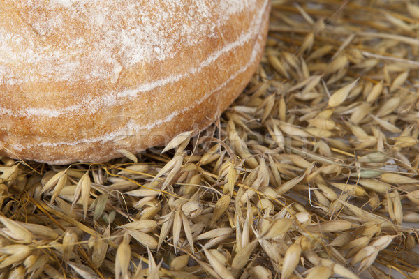 White loaf of homemade bread on a table with rye spikelets on the background  Stock photo © mcherevan