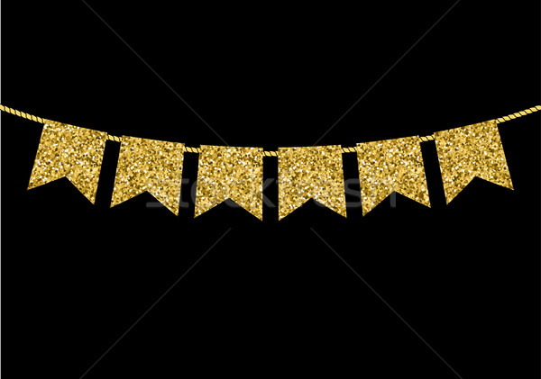 Gold flag  garlands made of gold glitter texture Stock photo © mcherevan
