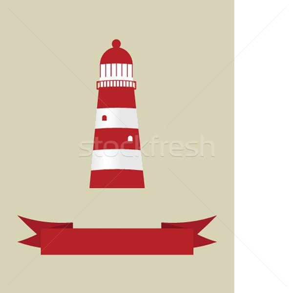 Stock photo: illustration of the sea and a light house