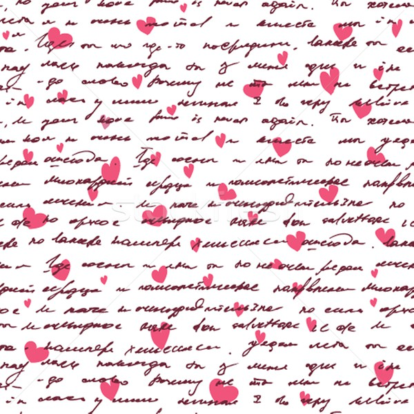 Love background with seamless hand drawn text and small hearts. Stock photo © mcherevan