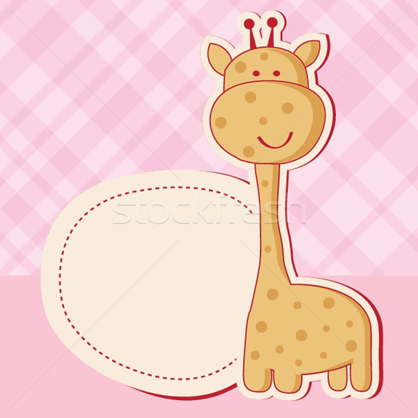 Baby girl shower card with cute giraffe Stock photo © mcherevan