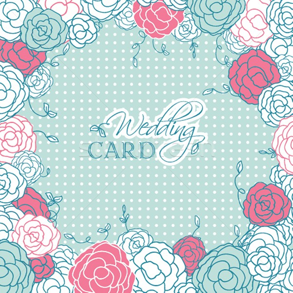Wedding card with beautiful rose flowers on blue polka dot background Stock photo © mcherevan