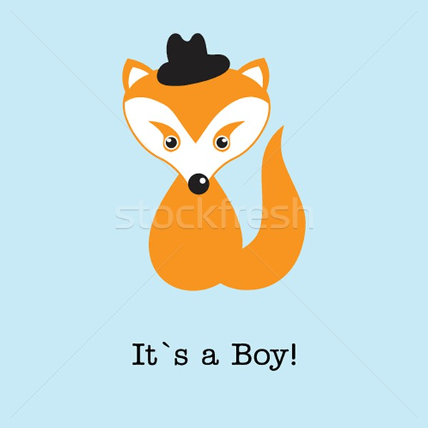 Baby boy fox arrival announcement birth card. Stock photo © mcherevan