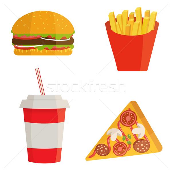баннер быстрого питания Cola гамбургер фри продовольствие Сток-фото © mcherevan