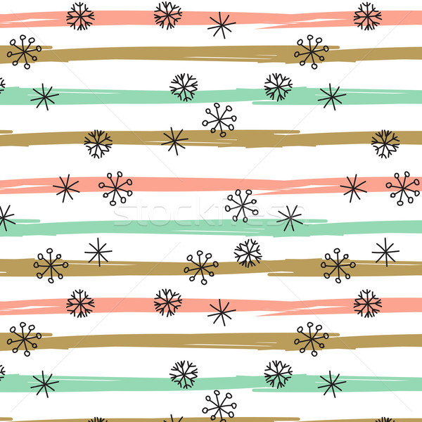 Vector background with hand drawn snowflakes, spots and stripes in pastel colors Stock photo © mcherevan