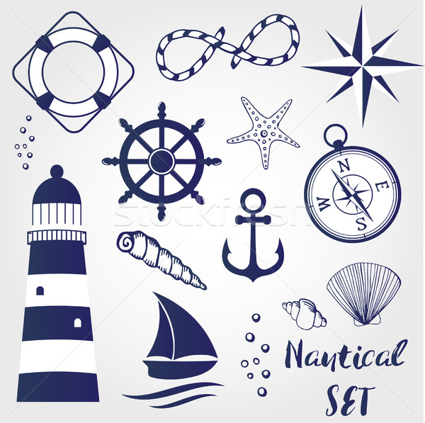 Nautical design elements lighthouse, seashell, coral, starfihh, rope, anchor, steering wheel, life b Stock photo © mcherevan