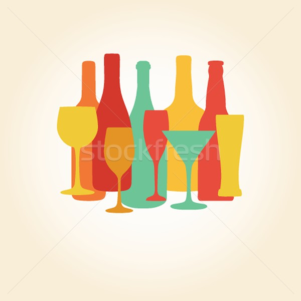 Alcohol Bottles and glasses  pattern. Beer, champagne, wine , other drinks design. Stock photo © mcherevan