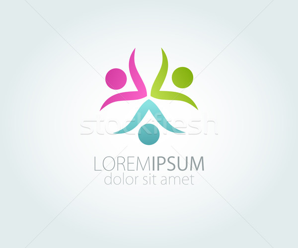 Abstract 3 people logo. Pink, blue and green people logo. Concept of team or family logotype Stock photo © mcherevan