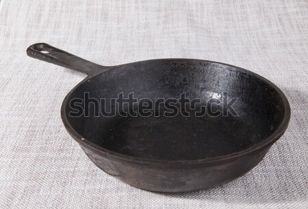 Old cast-iron grill pan. Stock photo © mcherevan