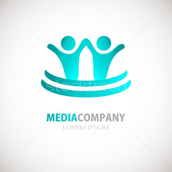 Stock fotó: Absztrakt · emberek · logo · felirat · ikon · kék