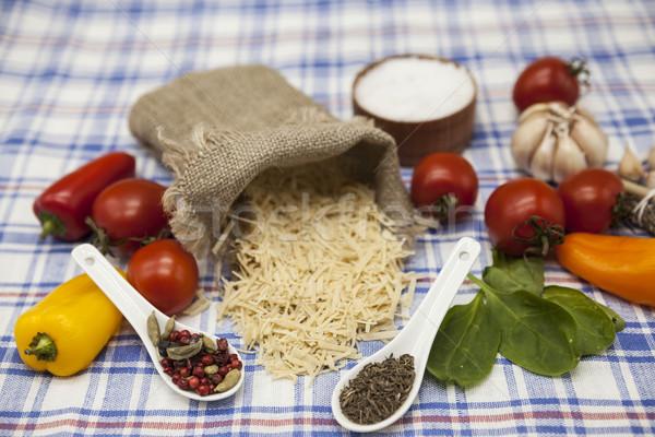 Vermicelli Italian pasta set for the creation : cherry tomatoes, olive oil, balsamic sauce, garlic,  Stock photo © mcherevan
