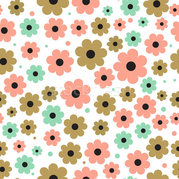 Seamless background with cute flowers in pastel colors. Stock photo © mcherevan