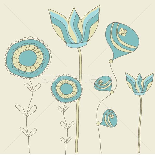 Vintage kaart bloemen wenskaart papier Stockfoto © mcherevan