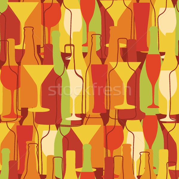 Seamless background with wine bottles and glasses Stock photo © mcherevan
