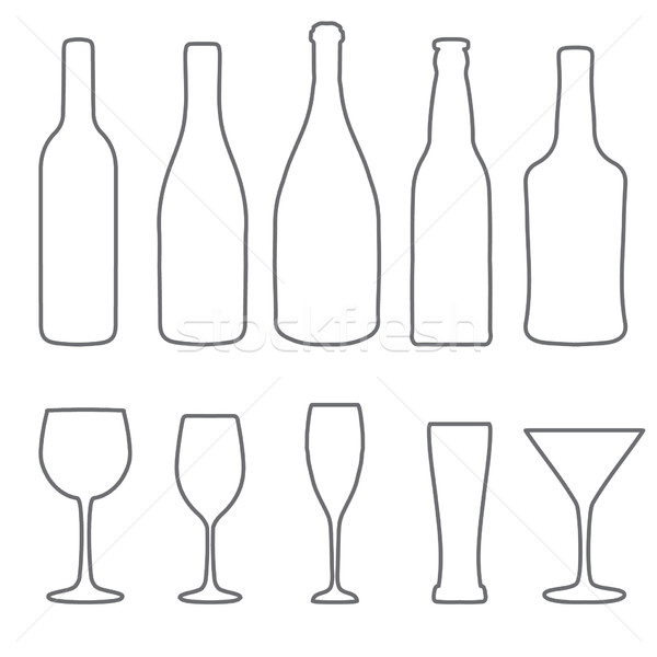 Alcohol thin lines icons set. Wine. beer, gin, champagne icons Stock photo © mcherevan