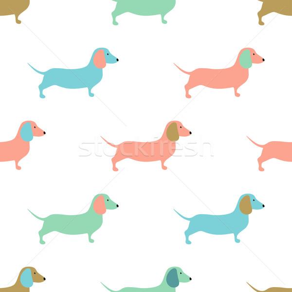 Cute honden klein puppies textiel Stockfoto © mcherevan