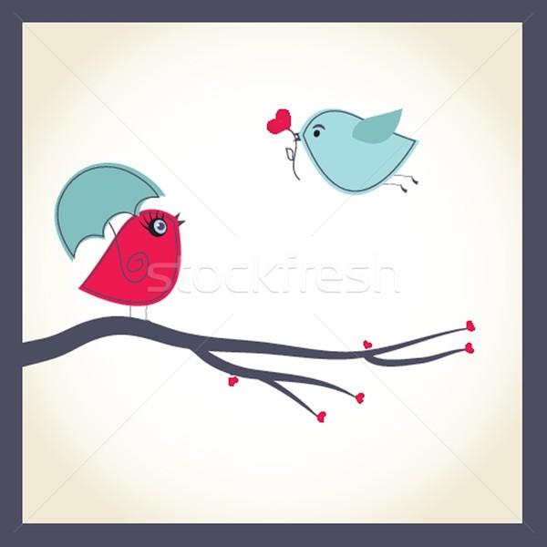 鳥 カップル 愛 空 花 ツリー ストックフォト © mcherevan