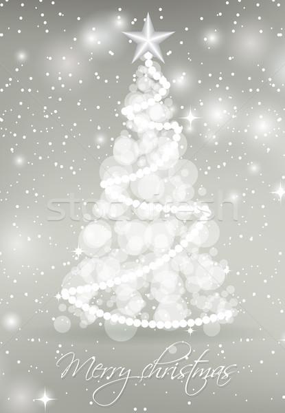 Soyut noel ağacı daire ışıklar gümüş Yıldız Stok fotoğraf © mcherevan