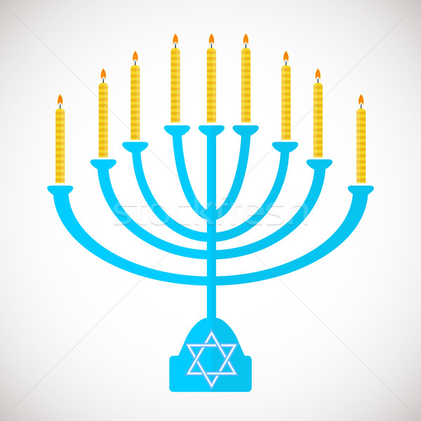 Vector illustration of hanukkah, jewish holiday. Hanukkah menora with  candles. Stock photo © mcherevan