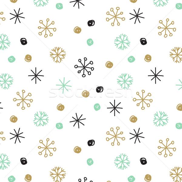 Vektor kézzel rajzolt hópelyhek foltok csíkok pasztell Stock fotó © mcherevan